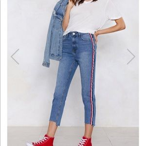 NASTYGAL STRIPE HIGH-WAISTED JEANS